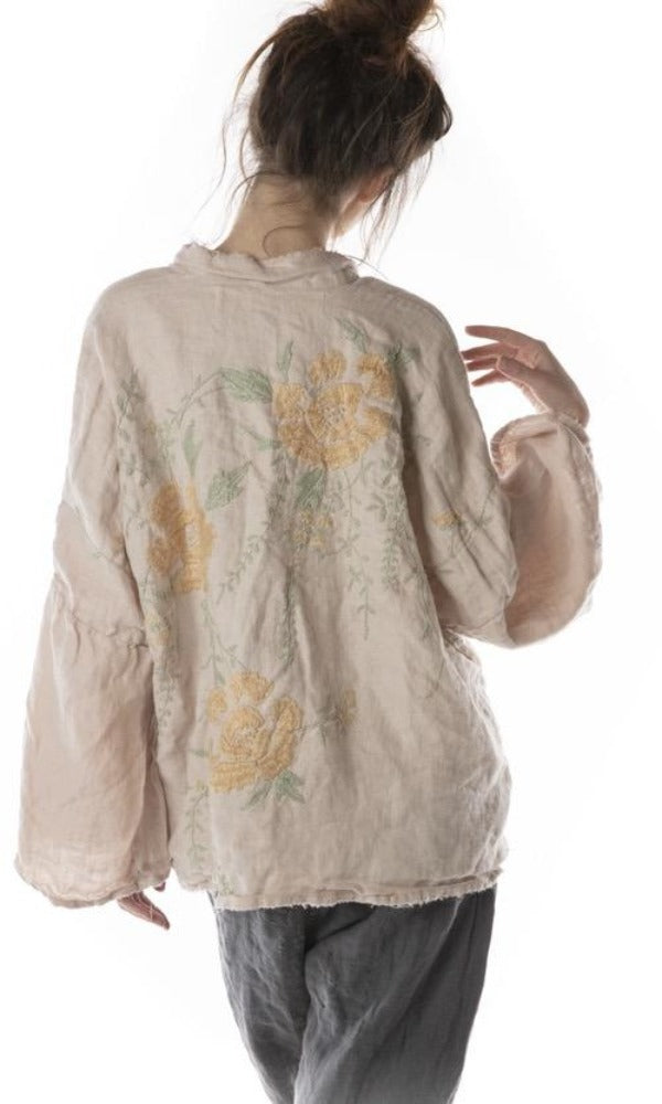 Magnolia Pearl Jacket 364 Linen Clodia Hand Embroidered Kimono - Lilac Water