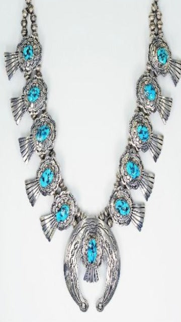 Vicki Orr Vintage Kingman Turquoise Nugget Sterling Silver Squash Blossom Necklace - Cowgirl Kim