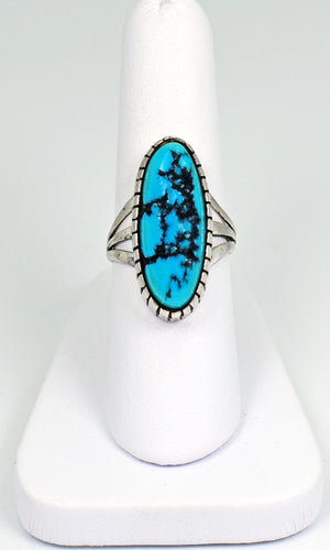 Vicki Orr Vintage Kingman Turquoise Sterling Silver Ring - Cowgirl Kim