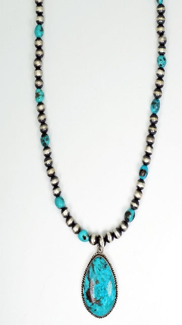 Vicki Orr  Vintage Turquoise Stormy Mountain Pendant w/ Navajo Pearl and Kingman Beaded Necklace - Cowgirl Kim
