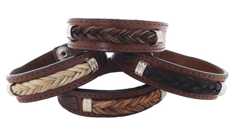 Cowboy Collectibles Tooled Horsehair Leather Bracelet - Brown - Cowgirl Kim