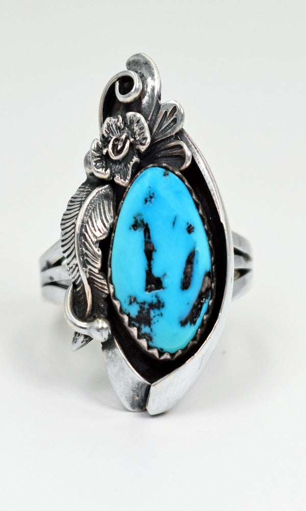 Vicki Orr Vintage Navajo Kingman Nugget Turquoise Sterling Silver Ring - Cowgirl Kim