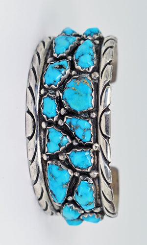 Vicki Orr Vintage 15 Stone Kingman Turquoise Sterling Silver Cuff - Cowgirl Kim