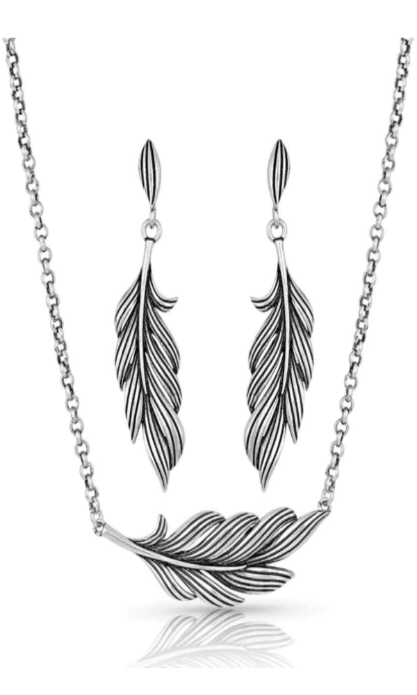 Montana Silversmith Frayed Singleton Feather Jewelry Set - In Stock