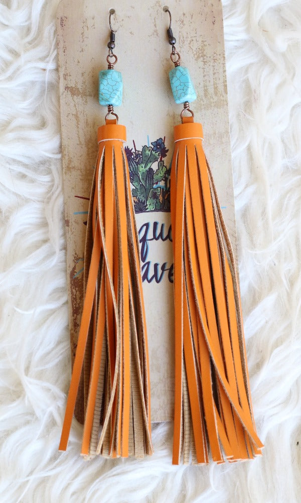 Cowgirl Kim Turquoise Stone Orange Tassel Earrings - #81936
