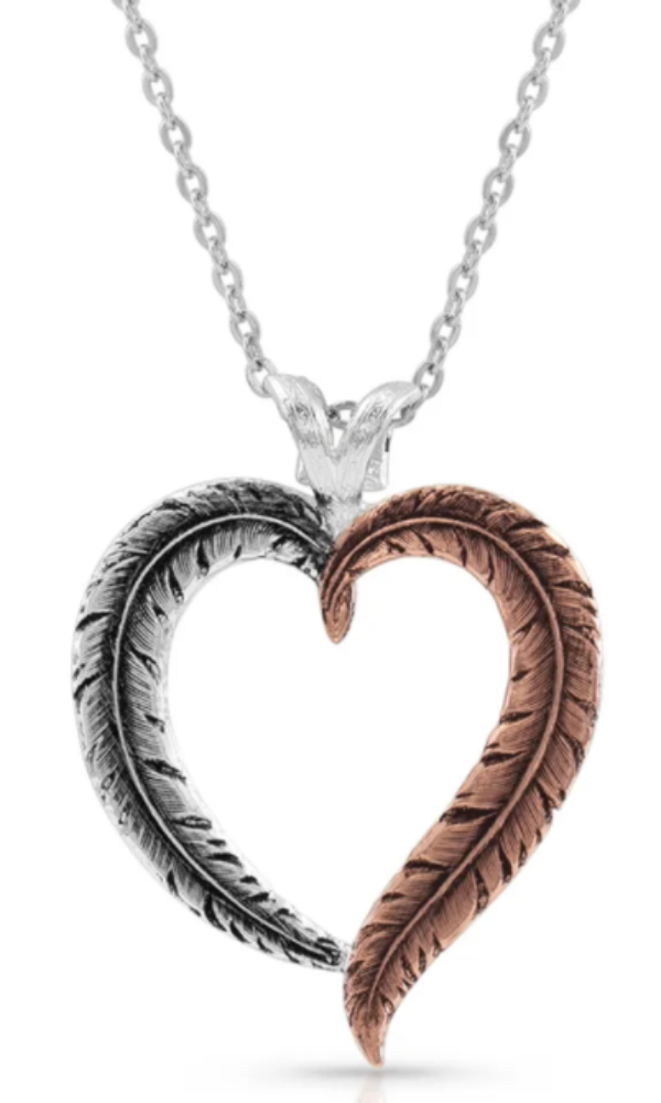 Magnolia Pearl Hearts Aflutter Feather Necklace - In Stock