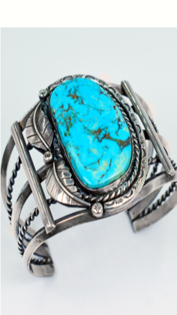 Vicki Orr Vintage Blue Gem Turquoise Sterling Silver Cuff - Cowgirl Kim