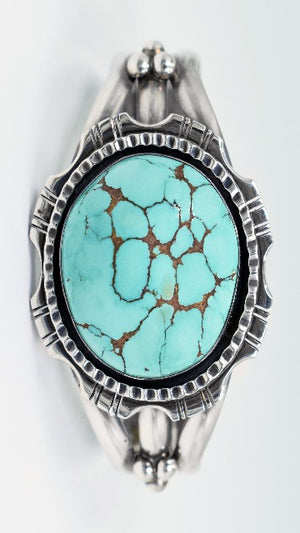 Vicki Orr Vintage Carico Lake Turquoise Sterling Silver Cuff - Cowgirl Kim