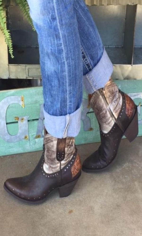 Old Gringo Polo Zipper Signature Ankle Boots~ Chocolate/Silver  Style BL3204-2 - Cowgirl Kim