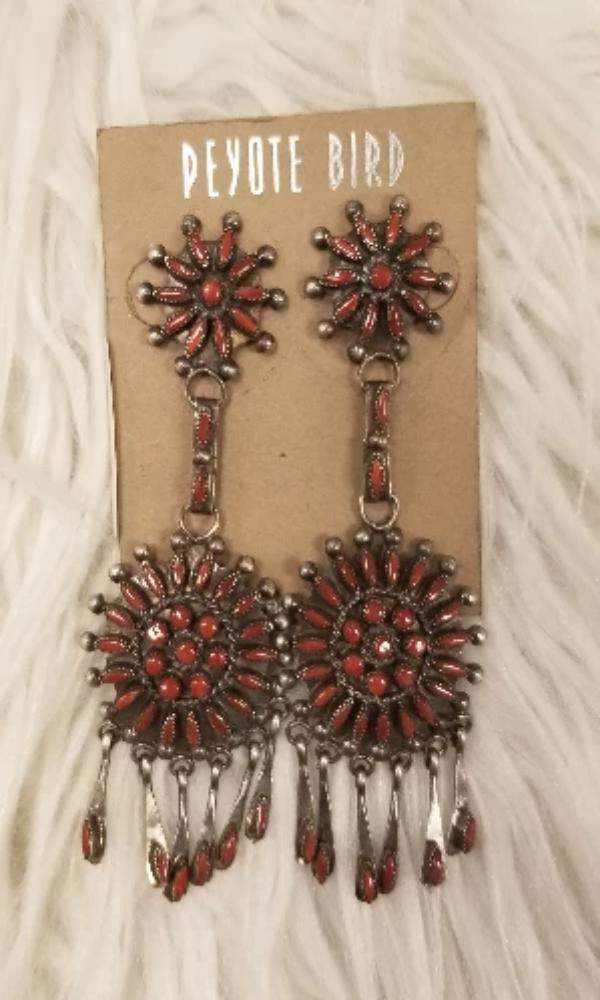 Peyote Bird Designs Vintage Zuni pinpoint Coral Double Starburst Dangle Earrings-HLD