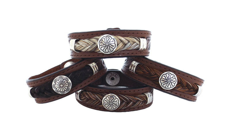 Cowboy Collectibles Leather and Horsehair Concho Bracelets - Light Gray