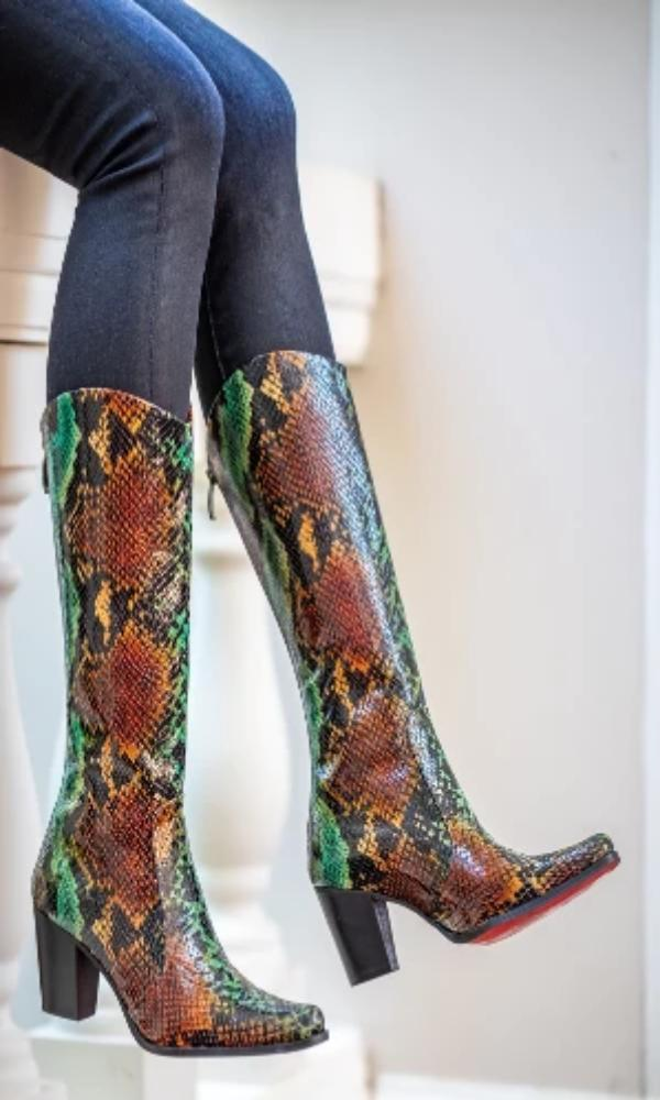 Rockwell Tharp Turquoise Leather Python Boots