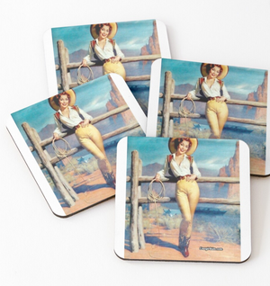 Cowgirl Kim Western Vintage Cowgirl Coasters - Set of 4