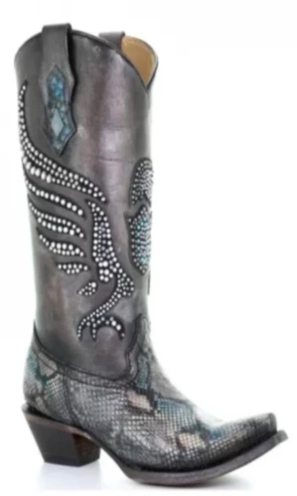 Corral Women's Silver Python Hand Painted and Crystals Pattern Boots #C3413