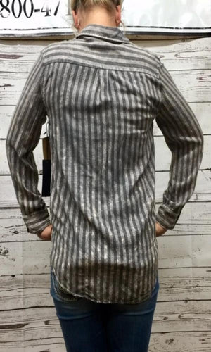 NuVintage Washed Gray Striped Shirt - Cowgirl Kim