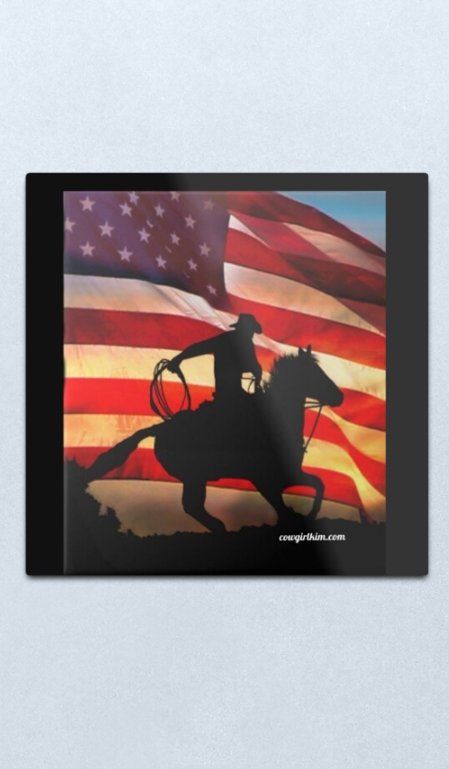 "Cowgirl Kim American Cowboy Metal Wall Art - 12"" x 12"" - In Stock"