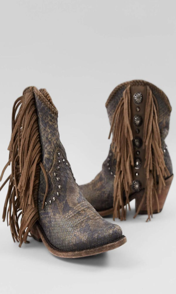Liberty Black Susannah Short Fringe Boot~ Python Fileteado Verde