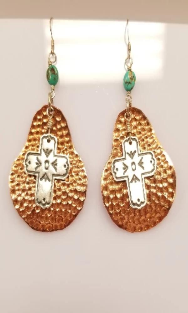 Sunwest Jewelry - Copper and Turquoise Earrings - Cowgirl Kim