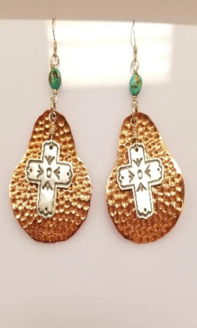 Sunwest Jewelry - Copper and Turquoise Earrings