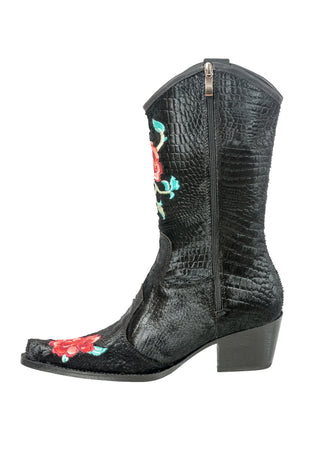 Rockwell Tharp Black Crocodile Roses Boot