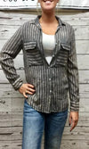 NuVintage Washed Gray Striped Shirt