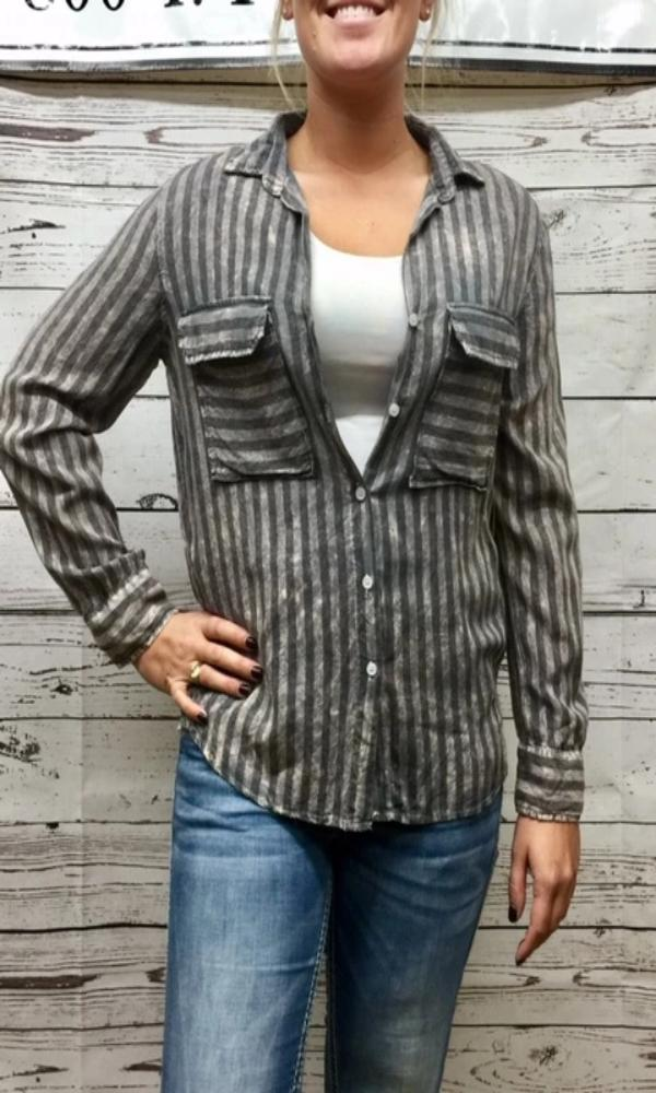NuVintage Women's Washed Gray Striped Shirt