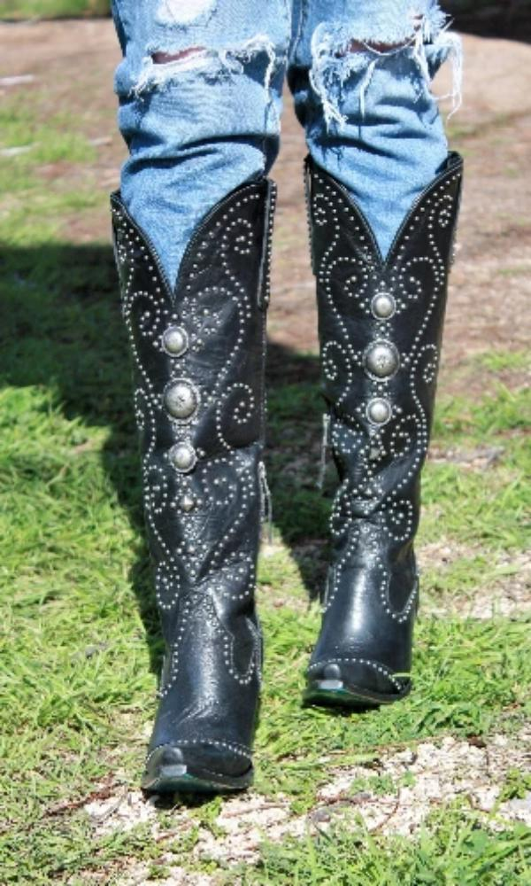 Cowgirl Kim Custom Black Sunshine Boots by Lane