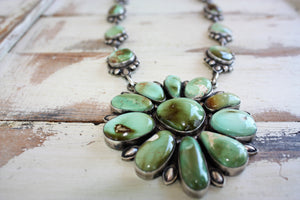 Sunwest Silver - Green Carico Lake Statement Necklace - Cowgirl Kim