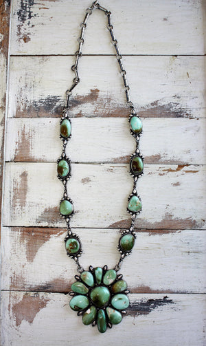 Sunwest Silver - Green Carico Lake Statement Necklace