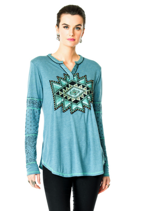 Double D Ranch Paso del Canon Top - Taos Turquoise