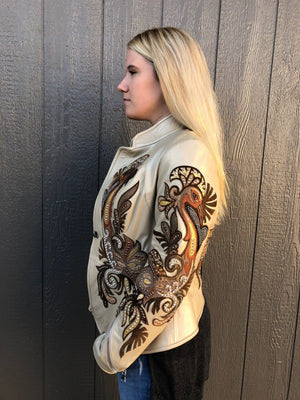 Kippy's Champagne Metallic Carnival Leather Jacket~ Made to Order