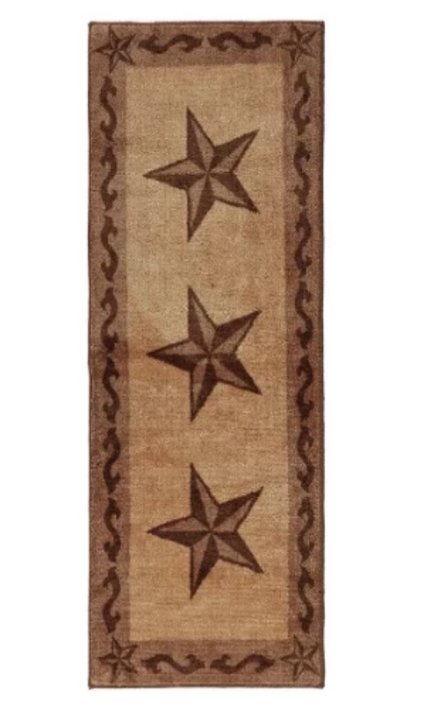 Cowgirl Kim Large Lone Star Print Runner~ Tan - Cowgirl Kim