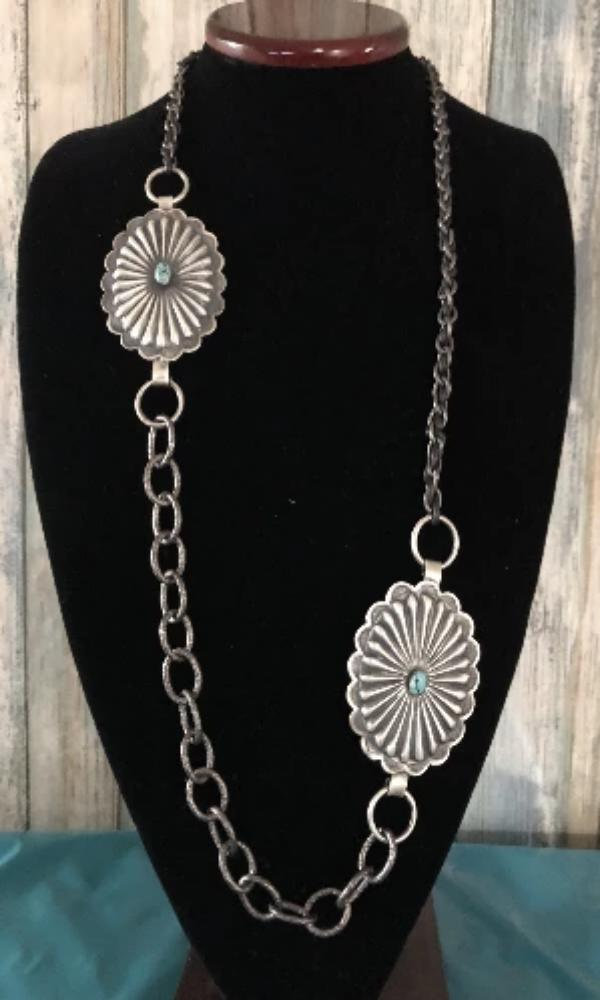 Vicki Orr Concho and Hammered Chain Necklace - Cowgirl Kim
