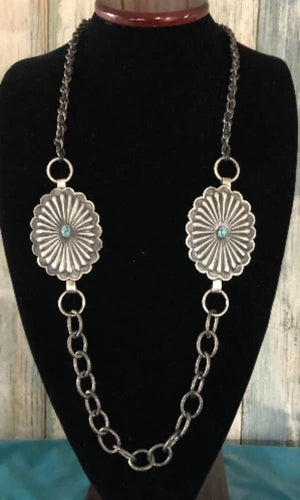 Vicki Orr Concho and Hammered Chain Necklace