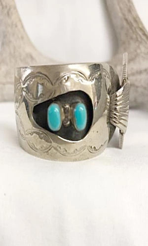 Vicki Orr Vintage Navajo Cuff w/4 Turquoise Stones - Cowgirl Kim