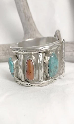 Vicki Orr Vintage Navajo 4 Stone Turquoise and 2 Stone Coral Cuff w Silver Dollar - Cowgirl Kim