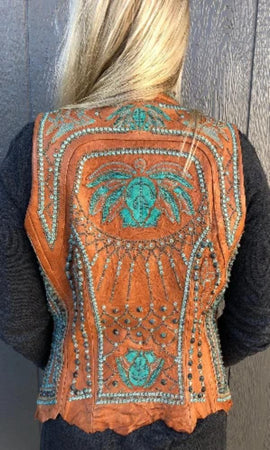 Kippy's Victoria Embroidered Elements Vest~ Cognac