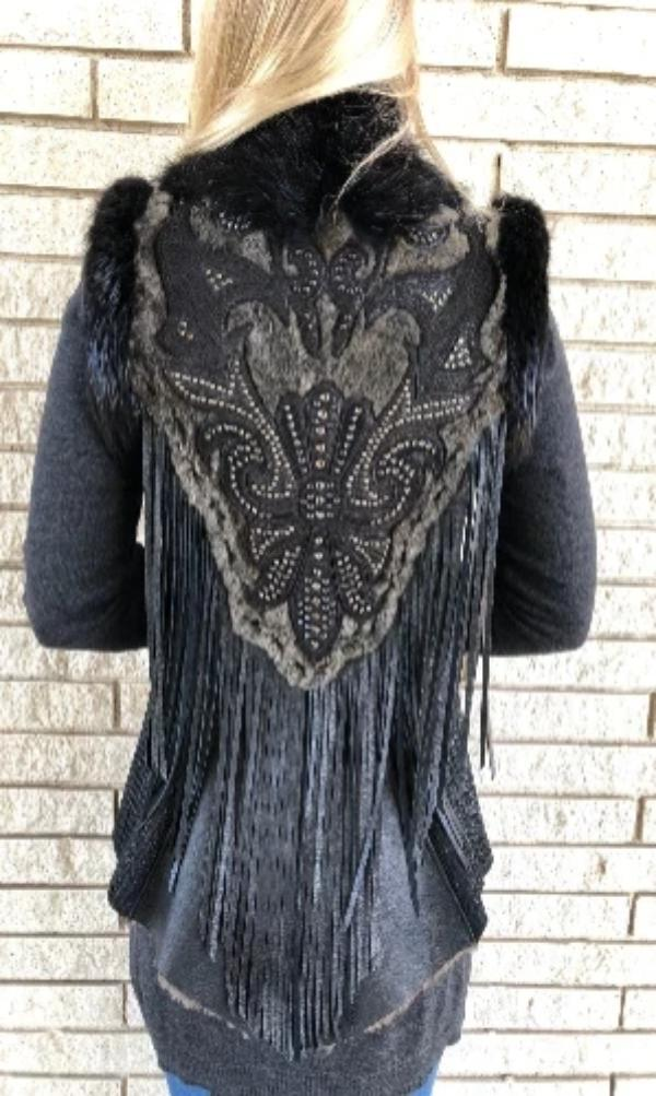 Kippy's Black Vicky 1970 Spiked Fleur De Lis Vest- size Small - Cowgirl Kim