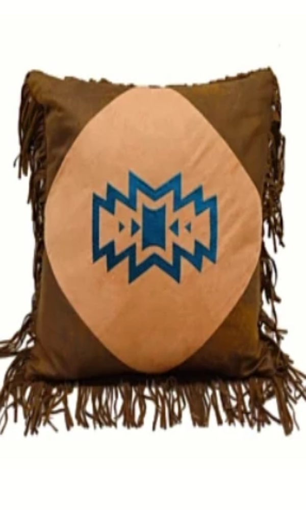 Cowgirl Kim Native American Faux Leather Pillow - Cowgirl Kim