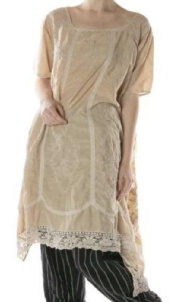 Magnolia Pearl Dress 600 Silk Embroidered Virgie Dress - Conch