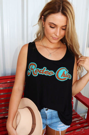Cowgirl Kim Rodeo Chica Tank - Black- size Large