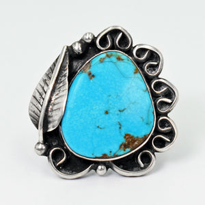 Vicki Orr Vintage Navajo Kingman Turquoise Feather Ring - Size 9.5