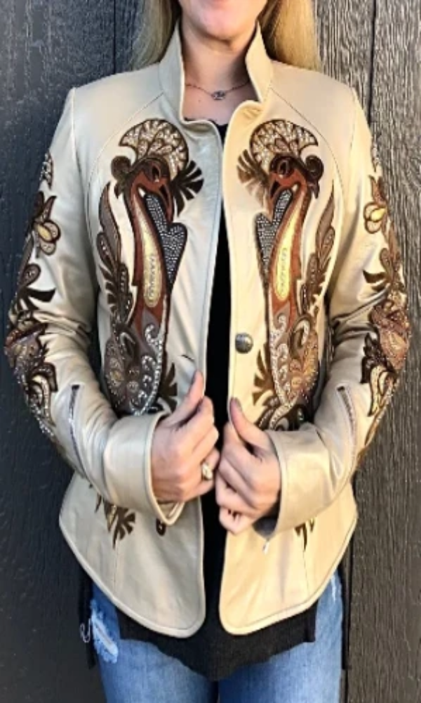 Kippy's Champagne Metallic Carnival Leather Jacket~ Made to Order - Cowgirl Kim