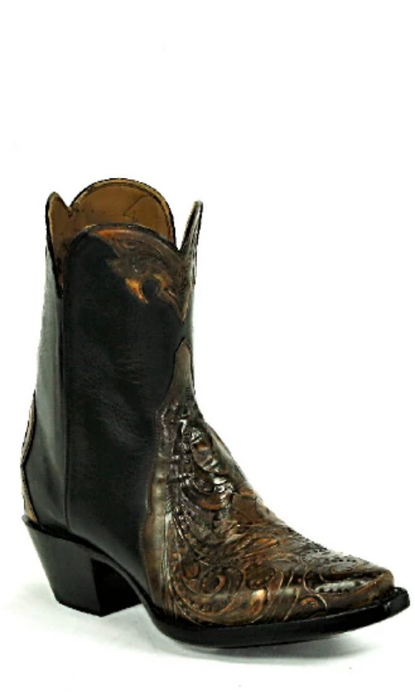 Black Jack Tooled Sanded Brown Bootie - Cowgirl Kim