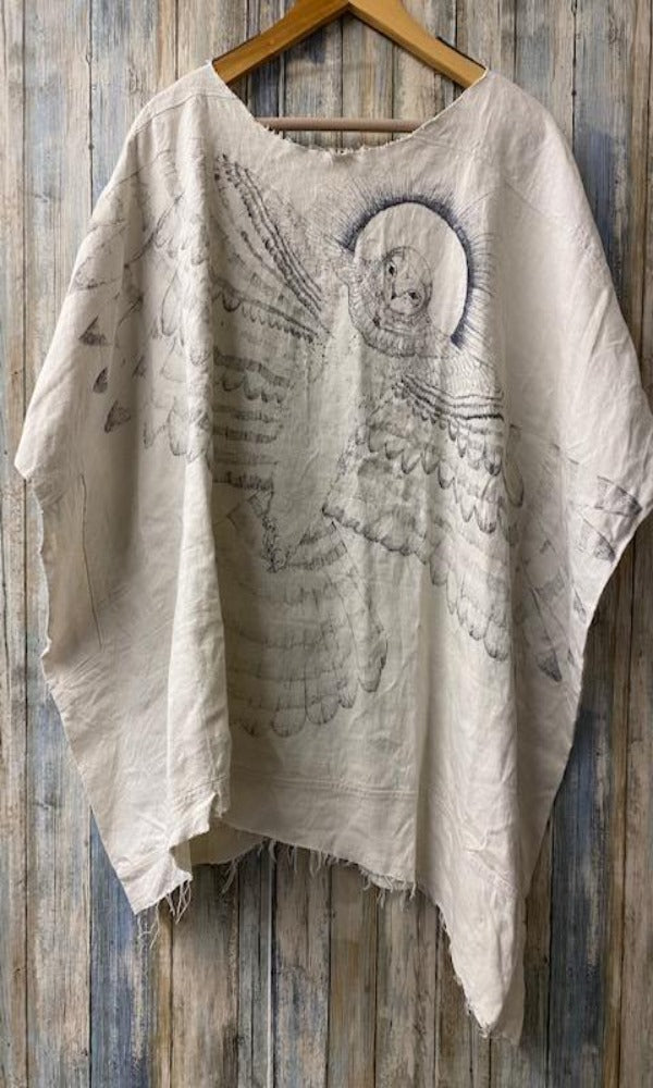 Magnolia Pearl Specialty Top 149 Antique Linen Top w/Hand Sketching - One of a Kind