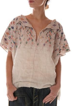 Magnolia Pearl Top 603 Linen Embroidered Andi Cropped Poncho