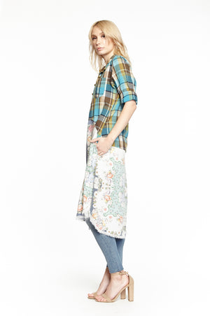 Aratta California Tunic~ Teal Plaid - Cowgirl Kim