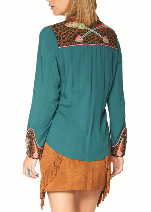 Double D Ranch Cheetah Feather Top