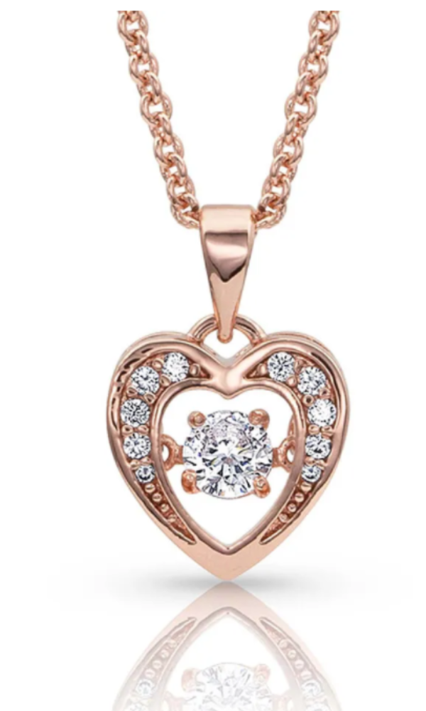 Montana Silversmith Let's Dance A Little Dance Rose Gold Heart Necklace - In Stock