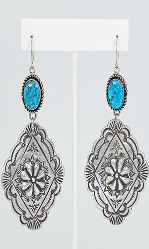 Vicki Orr Vintage 2 Tier Kingman Turquoise and Sterling Silver Concho Dangle Earrings - Cowgirl Kim
